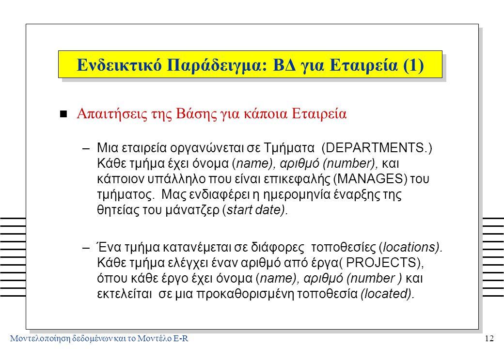 Μοντελοποίηση δεδομένων και το Μοντέλο E-R12 Ενδεικτικό Παράδειγμα: ΒΔ για Εταιρεία (1) n Απαιτήσεις της Βάσης για κάποια Εταιρεία –Μια εταιρεία οργαν