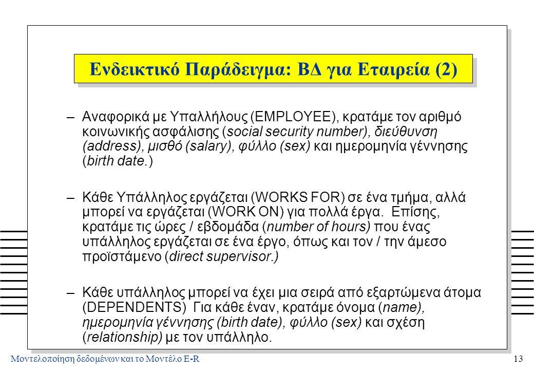 Μοντελοποίηση δεδομένων και το Μοντέλο E-R13 Ενδεικτικό Παράδειγμα: ΒΔ για Εταιρεία (2) –Αναφορικά με Υπαλλήλους (EMPLOYEE), κρατάμε τον αριθμό κοινων