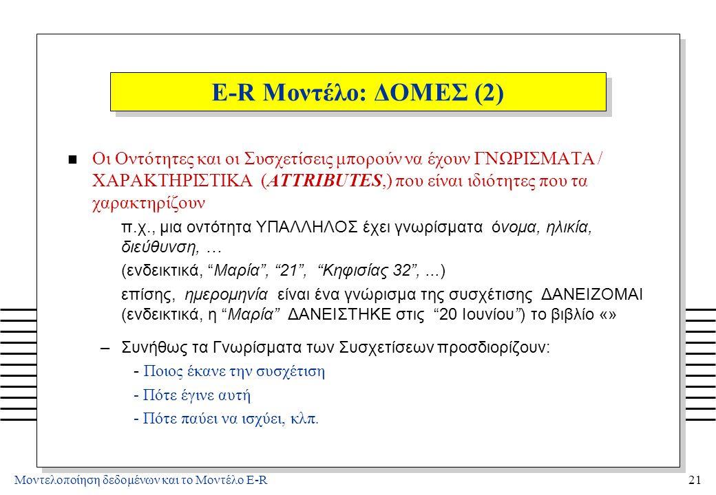 Μοντελοποίηση δεδομένων και το Μοντέλο E-R21 E-R Μοντέλο: ΔΟΜΕΣ (2) n Οι Οντότητες και οι Συσχετίσεις μπορούν να έχουν ΓΝΩΡΙΣΜΑΤΑ / ΧΑΡΑΚΤΗΡΙΣΤΙΚΑ (AT