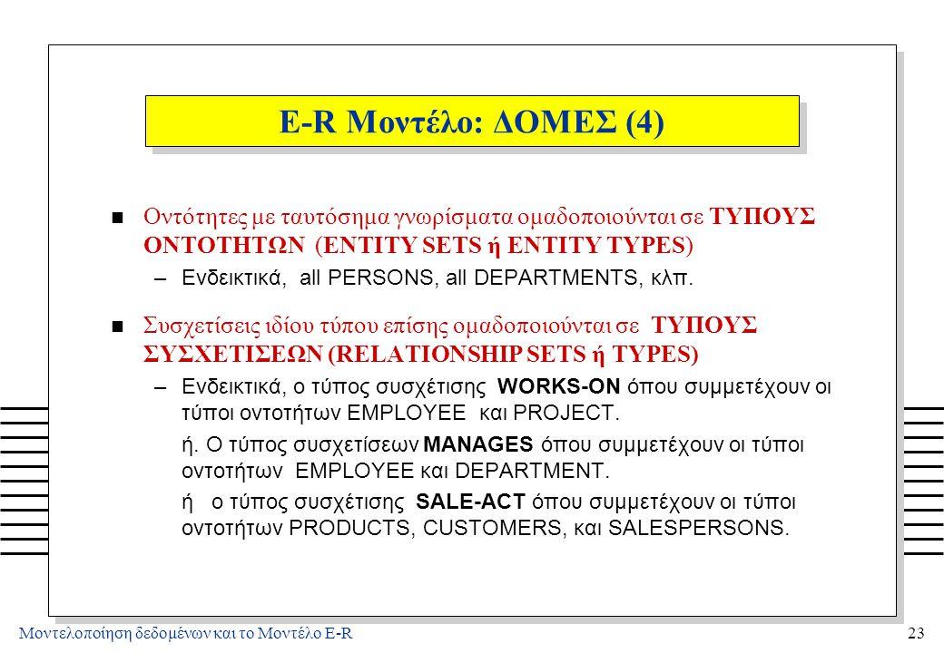 Μοντελοποίηση δεδομένων και το Μοντέλο E-R23 E-R Μοντέλο: ΔΟΜΕΣ (4) n Οντότητες με ταυτόσημα γνωρίσματα ομαδοποιούνται σε ΤΥΠΟΥΣ ΟΝΤΟΤΗΤΩΝ (ENTITY SET