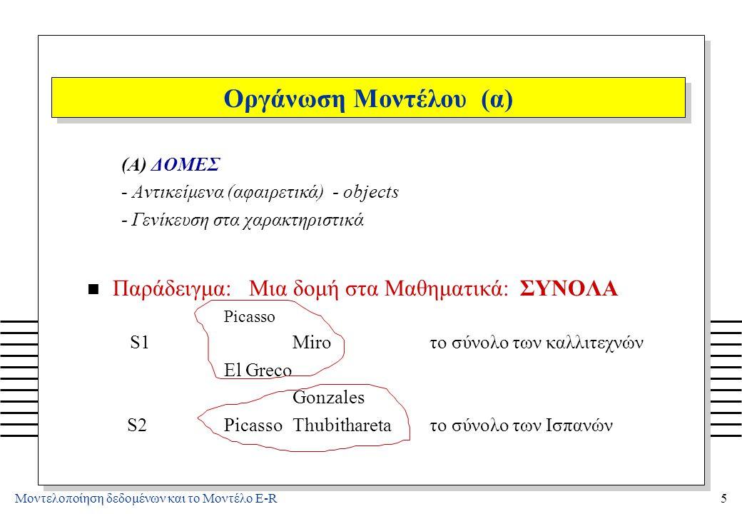 Μοντελοποίηση δεδομένων και το Μοντέλο E-R5 Οργάνωση Μοντέλου (α) (A) ΔΟΜΕΣ - Αντικείμενα (αφαιρετικά) - objects - Γενίκευση στα χαρακτηριστικά n Παρά