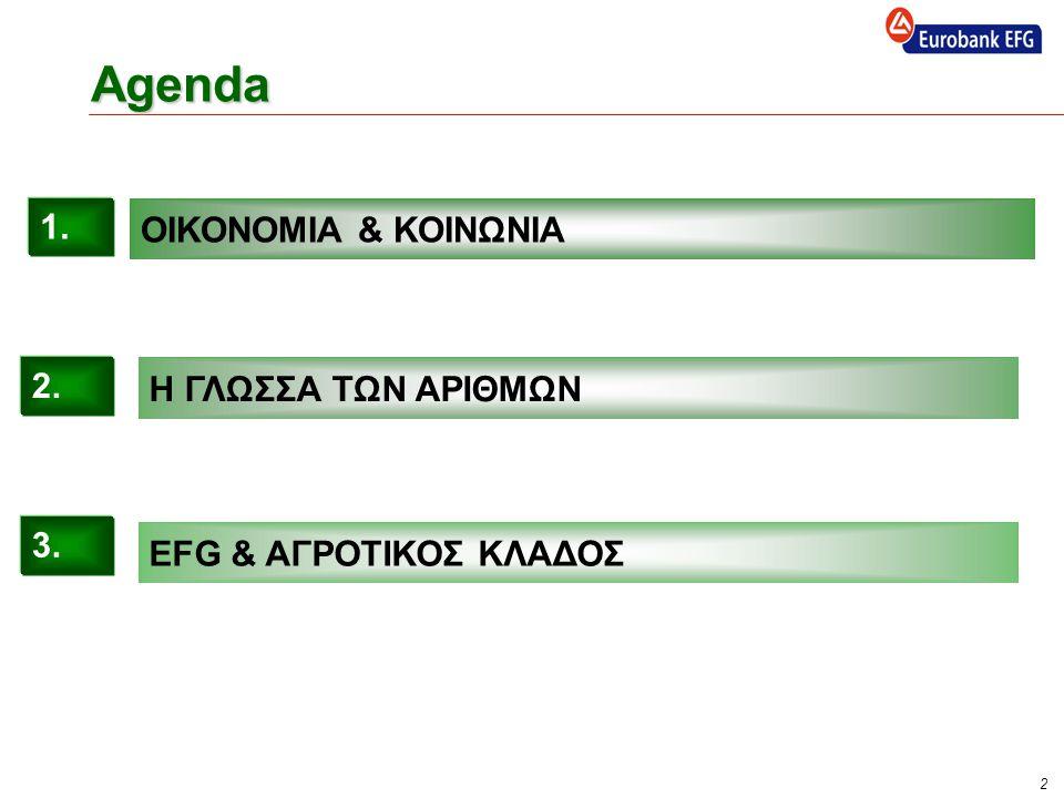 2 Agenda Η ΓΛΩΣΣΑ ΤΩΝ ΑΡΙΘΜΩΝ EFG & ΑΓΡΟΤΙΚΟΣ ΚΛΑΔΟΣ 2. 3. ΟΙΚΟΝΟΜΙΑ & ΚΟΙΝΩΝΙΑ 1.