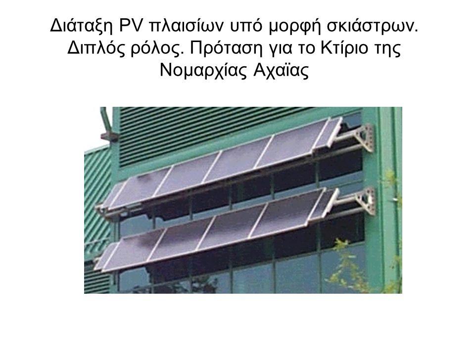 Διάταξη PV πλαισίων υπό μορφή σκιάστρων. Διπλός ρόλος. Πρόταση για το Κτίριο της Νομαρχίας Αχαϊας
