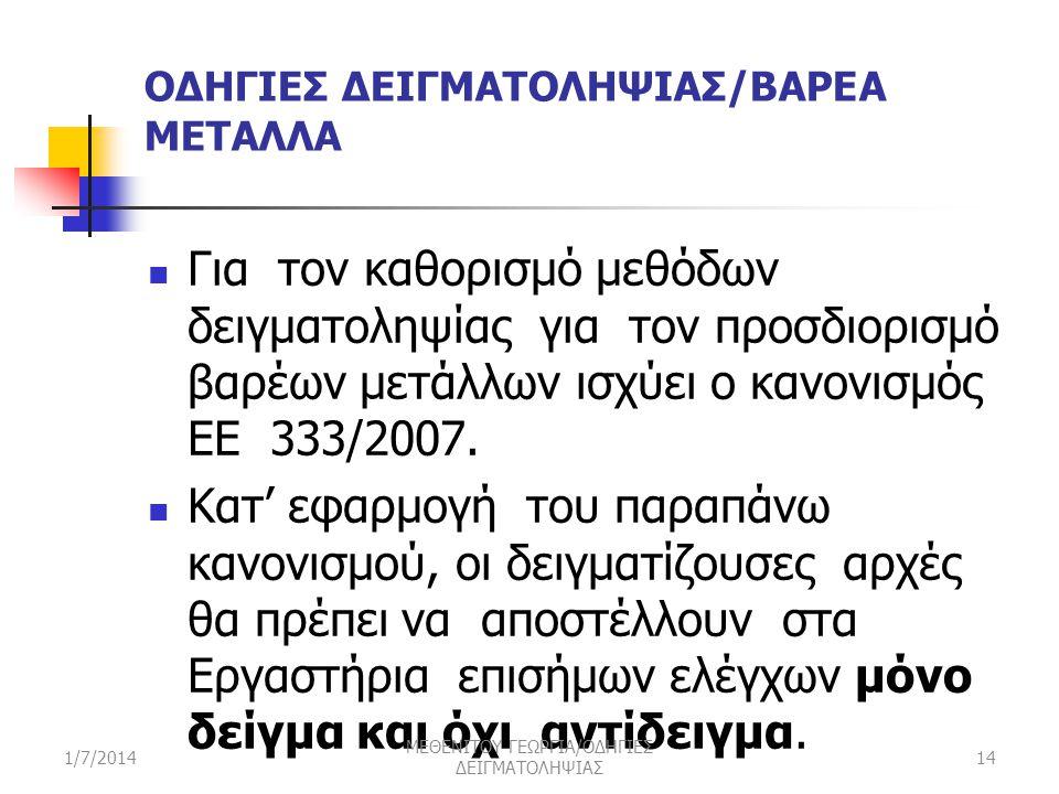 ΟΔΗΓΙΕΣ ΔΕΙΓΜΑΤΟΛΗΨΙΑΣ/ΒΑΡΕΑ ΜΕΤΑΛΛΑ  Για τον καθορισμό μεθόδων δειγματοληψίας για τον προσδιορισμό βαρέων μετάλλων ισχύει ο κανονισμός ΕΕ 333/2007.
