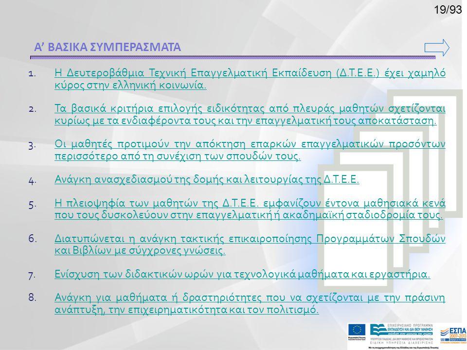 Α' ΒΑΣΙΚΑ ΣΥΜΠΕΡΑΣΜΑΤΑ 1.Η Δευτεροβάθμια Τεχνική Επαγγελματική Εκπαίδευση (Δ.Τ.Ε.Ε.) έχει χαμηλό κύρος στην ελληνική κοινωνία.Η Δευτεροβάθμια Τεχνική