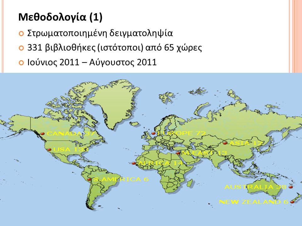 12 Μεθοδολογία (1) Στρωματοποιημένη δειγματοληψία 331 βιβλιοθήκες (ιστότοποι) από 65 χώρες Ιούνιος 2011 – Αύγουστος 2011