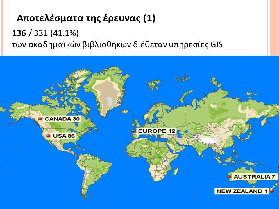 14 Αποτελέσματα της έρευνας (1) 136 / 331 (41.1%) των ακαδημαϊκών βιβλιοθηκών διέθεταν υπηρεσίες GIS