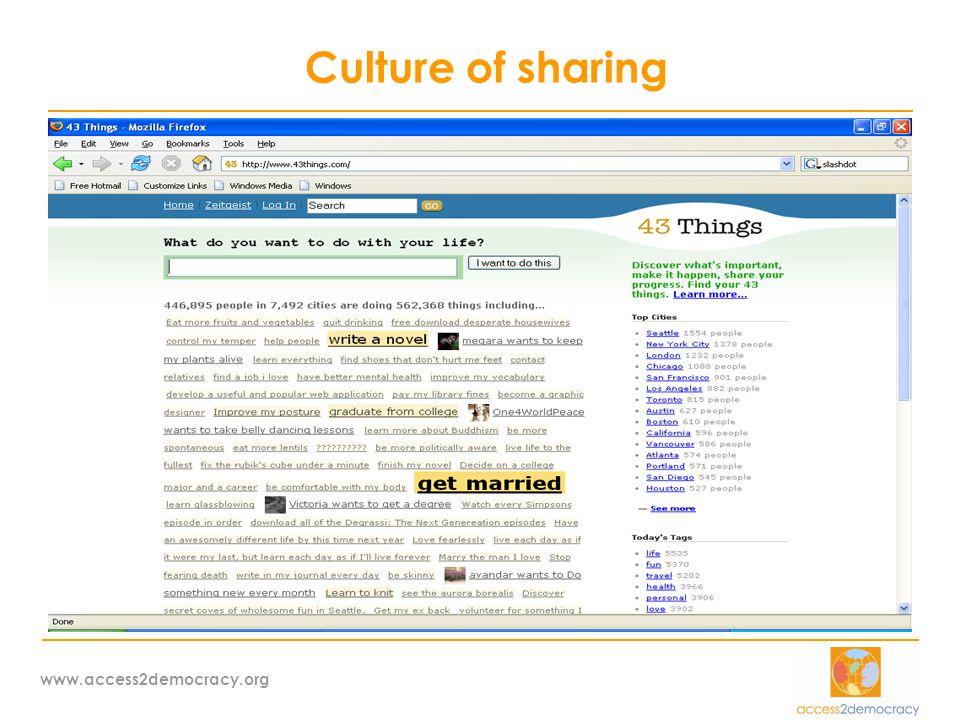 www.access2democracy.org Χρήση ΤΠΕ από Κοινωνία Πολιτών  Ενημέρωση-πληροφόρηση (sites, blogs etc)  Συνεργασία & οργάνωση (collaborative platforms, wikis, virtual conferencing etc)  Διαβούλευση & συμμετοχή σε λήψη αποφάσεων vis a vis πολιτεία (info platforms, e- votes, online petitions, forums)  Κινητοποίηση – campaigning (e-petitions, webcasts, videos, action alerts, stories,)  Εύρεση πόρων: Το 85% των χρημάτων που μαζεύτηκαν για το τσουνάμι στις ΗΠΑ, ήρθαν με πληρωμές πιστωτικών καρτών σε internet portals