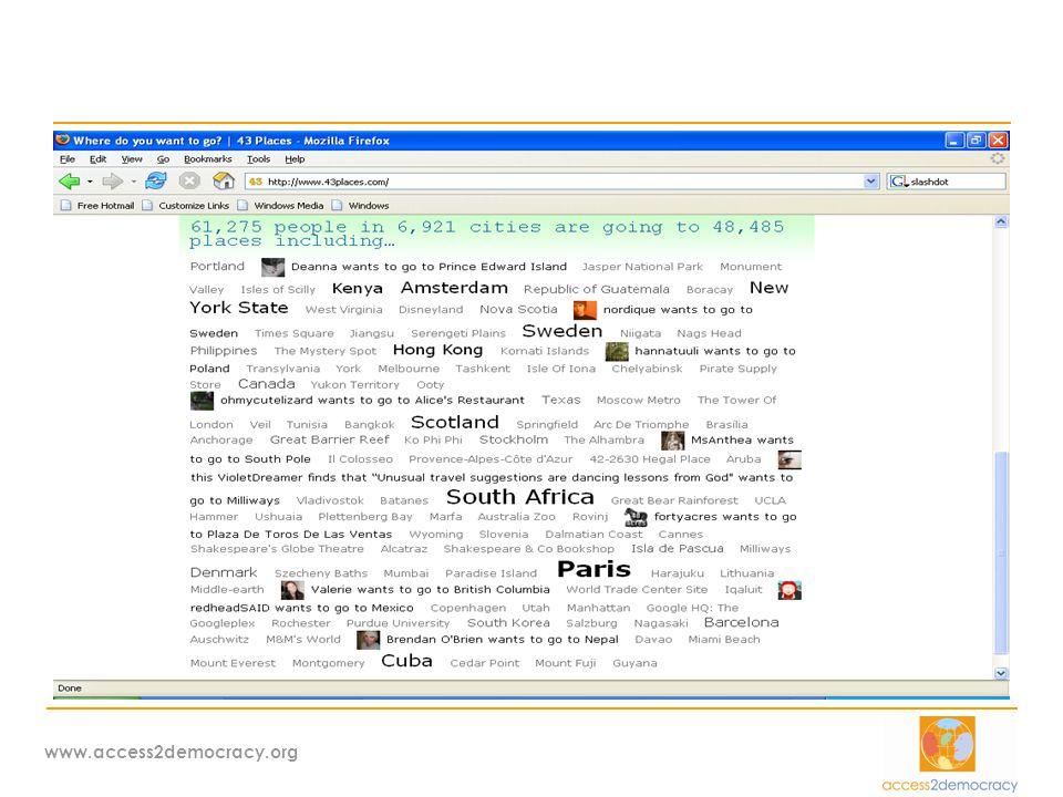 www.access2democracy.org ΤΠΕ στην Κοινωνία πολιτών  Υπάρχει σημαντικό περιθώριο ανάπτυξης / νέα αγορά / νέες υπηρεσίες  Θα μπορούσε να είναι φορέας διάχυσης ΤΠΕ στην Κοινωνία…  Θα είχε επιτυχία ένα «ΜΚΟ δικτυωθείτε»  eCS-SN: eCivil Society Support Network / φόρουμ πολιτικής και στρατηγικής σε ευρωπαϊκό / εθνικό επίπεδο για την αξιοποίηση ΤΠΕ στην Κοινωνία Πολιτών  Υπάρχει ανάγκη περισσότερου διαλόγου και συνεργασίας μεταξύ των φορέων και διαφ.