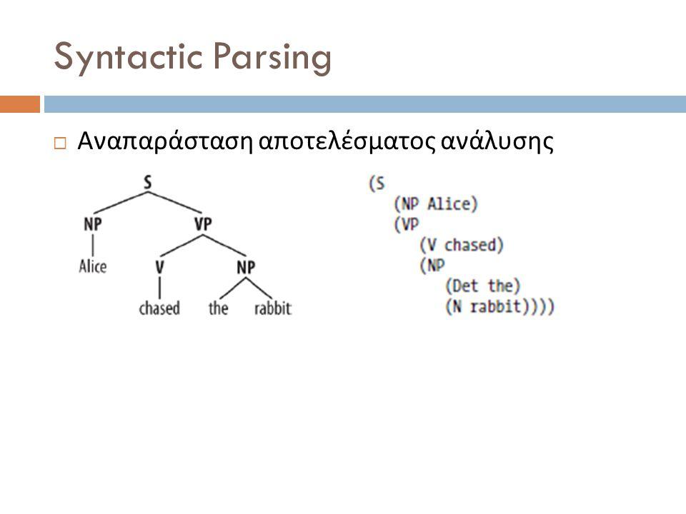 Syntactic Parsing  Αναπαράσταση αποτελέσματος ανάλυσης