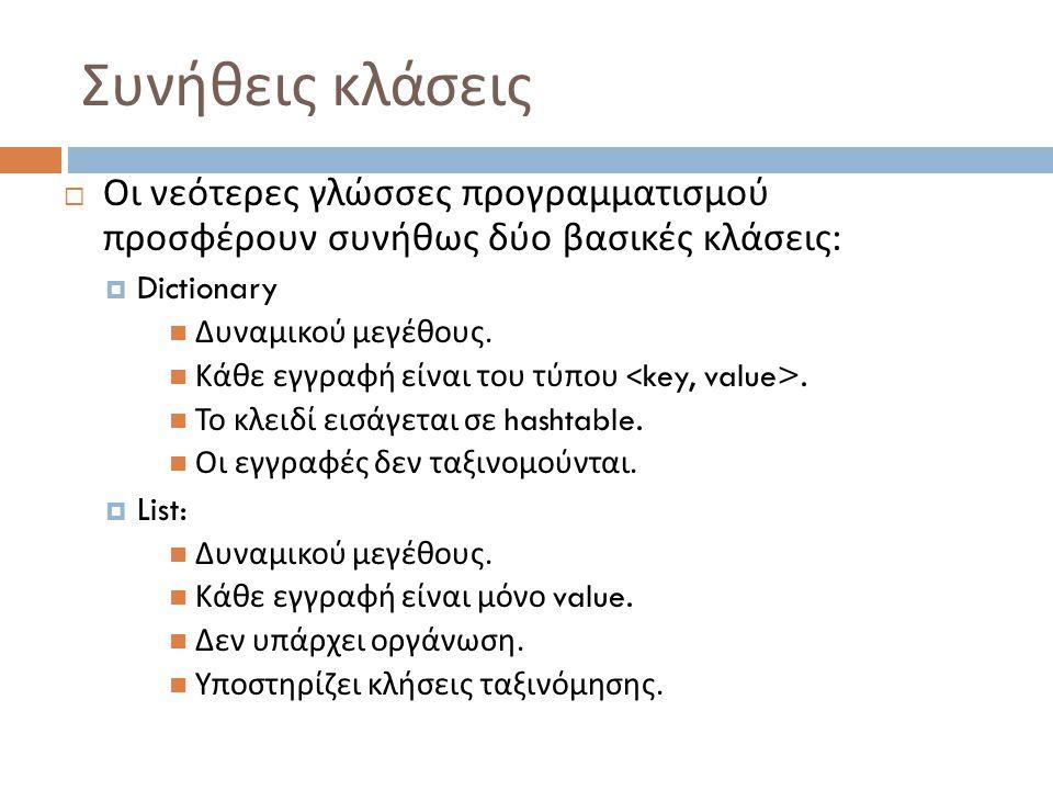 Συνήθεις κλάσεις  Οι νεότερες γλώσσες προγραμματισμού προσφέρουν συνήθως δύο βασικές κλάσεις :  Dictionary  Δυναμικού μεγέθους.