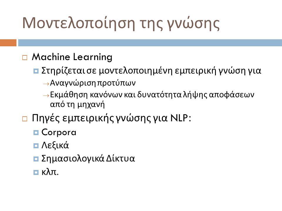 Μοντελοποίηση της γνώσης  Machine Learning  Στηρίζεται σε μοντελοποιημένη εμπειρική γνώση για  Αναγνώριση προτύπων  Εκμάθηση κανόνων και δυνατότητα λήψης αποφάσεων από τη μηχανή  Πηγές εμπειρικής γνώσης για NLP:  Corpora  Λεξικά  Σημασιολογικά Δίκτυα  κλπ.