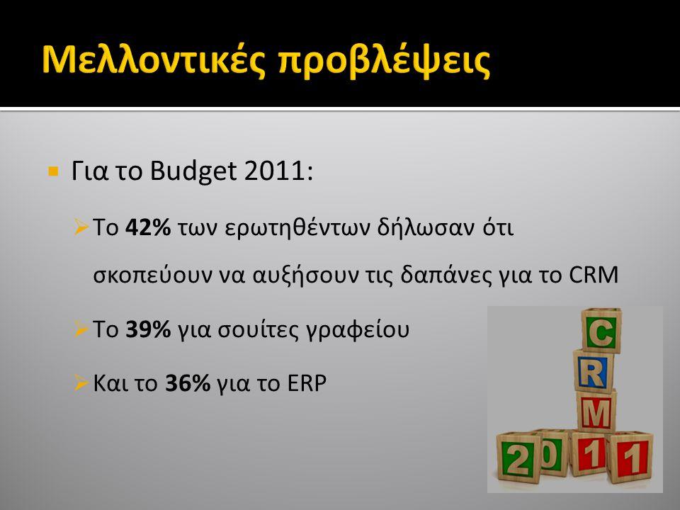  Για το Budget 2011:  Tο 42% των ερωτηθέντων δήλωσαν ότι σκοπεύουν να αυξήσουν τις δαπάνες για το CRM  Tο 39% για σουίτες γραφείου  Kαι το 36% για το ERP