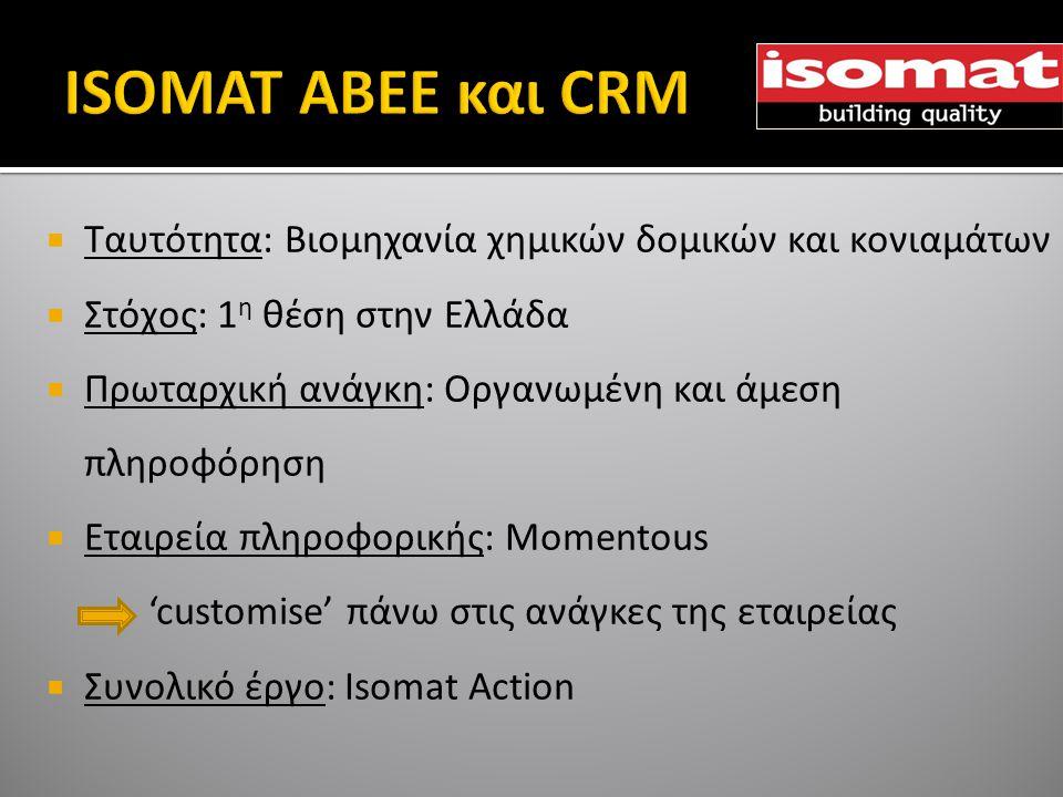  Ταυτότητα: Βιομηχανία χημικών δομικών και κονιαμάτων  Στόχος: 1 η θέση στην Ελλάδα  Πρωταρχική ανάγκη: Οργανωμένη και άμεση πληροφόρηση  Εταιρεία πληροφορικής: Momentous 'customise' πάνω στις ανάγκες της εταιρείας  Συνολικό έργο: Isomat Action