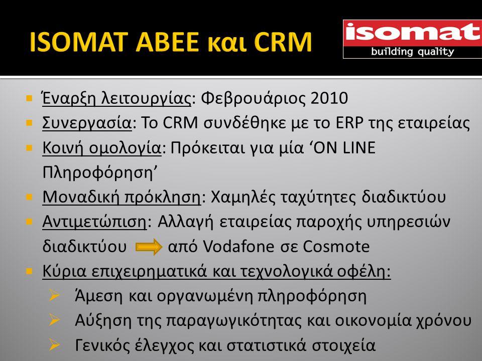  Έναρξη λειτουργίας: Φεβρουάριος 2010  Συνεργασία: To CRM συνδέθηκε με το ERP της εταιρείας  Κοινή ομολογία: Πρόκειται για μία 'ON LINE Πληροφόρηση'  Μοναδική πρόκληση: Χαμηλές ταχύτητες διαδικτύου  Αντιμετώπιση: Αλλαγή εταιρείας παροχής υπηρεσιών διαδικτύου από Vodafone σε Cosmote  Κύρια επιχειρηματικά και τεχνολογικά οφέλη:  Άμεση και οργανωμένη πληροφόρηση  Αύξηση της παραγωγικότητας και οικονομία χρόνου  Γενικός έλεγχος και στατιστικά στοιχεία