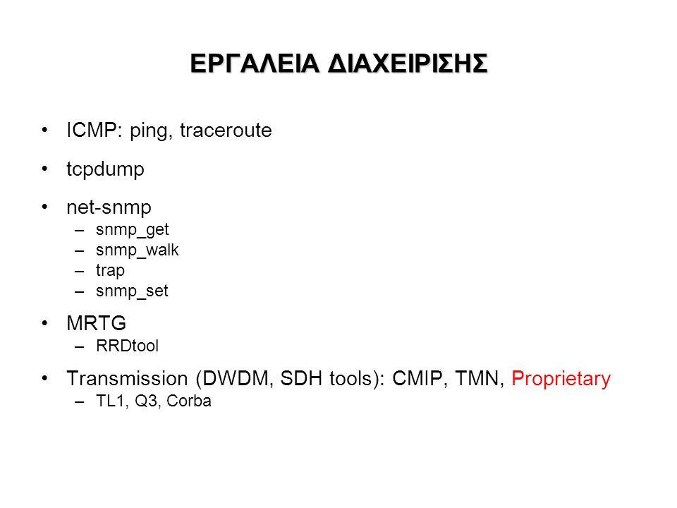 ΕΡΓΑΛΕΙΑ ΔΙΑΧΕΙΡΙΣΗΣ •ICMP: ping, traceroute •tcpdump •net-snmp –snmp_get –snmp_walk –trap –snmp_set •MRTG –RRDtool •Transmission (DWDM, SDH tools): CMIP, TMN, Proprietary –TL1, Q3, Corba