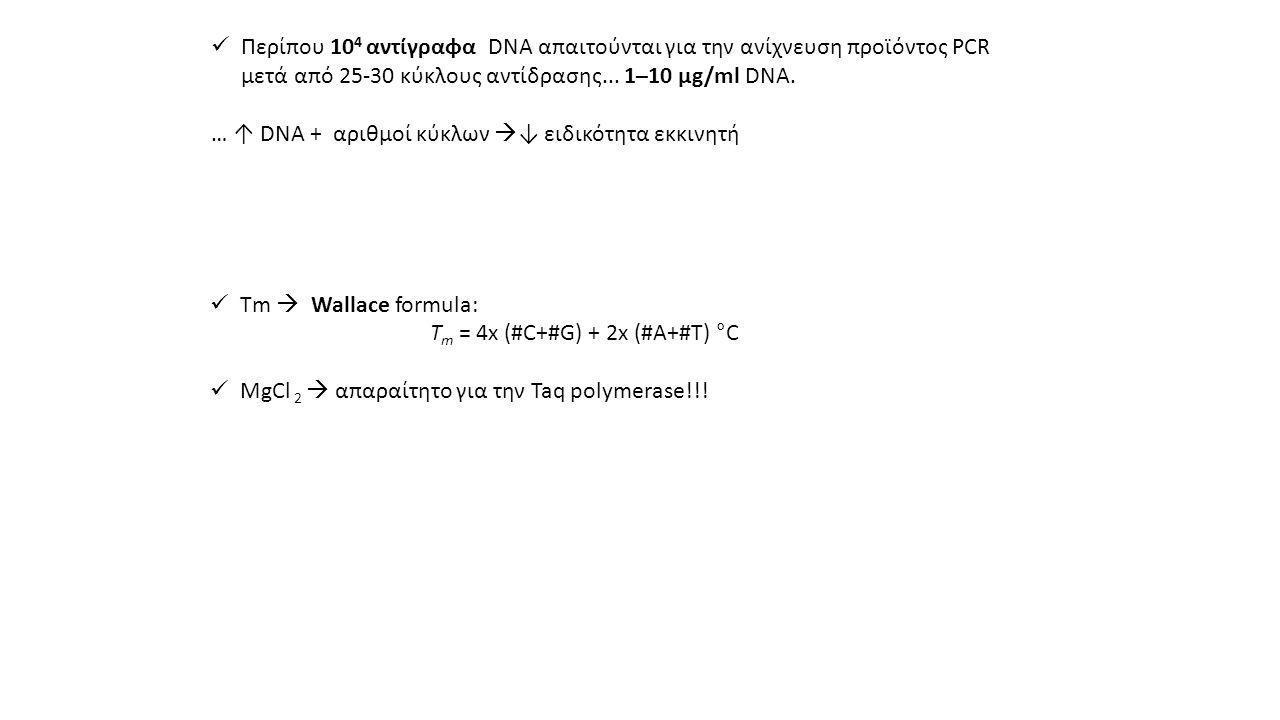  Περίπου 10 4 αντίγραφα DNA απαιτούνται για την ανίχνευση προϊόντος PCR μετά από 25-30 κύκλους αντίδρασης...