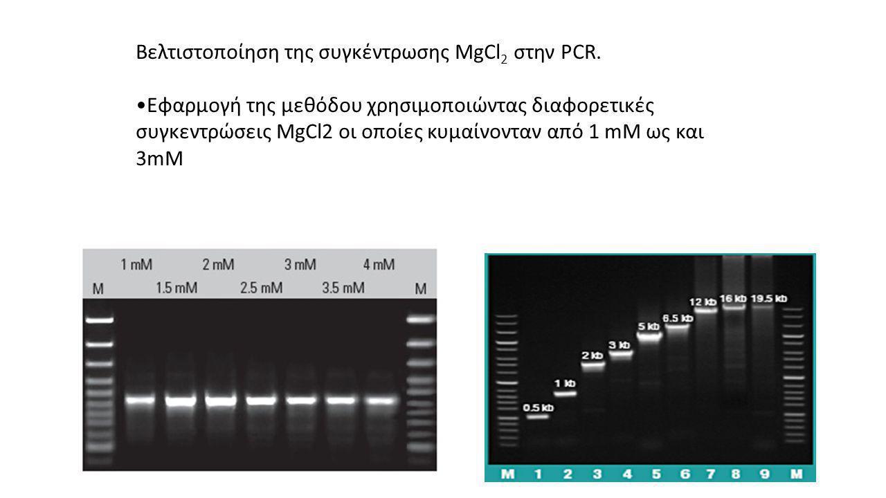 Βελτιστοποίηση της συγκέντρωσης MgCl 2 στην PCR.