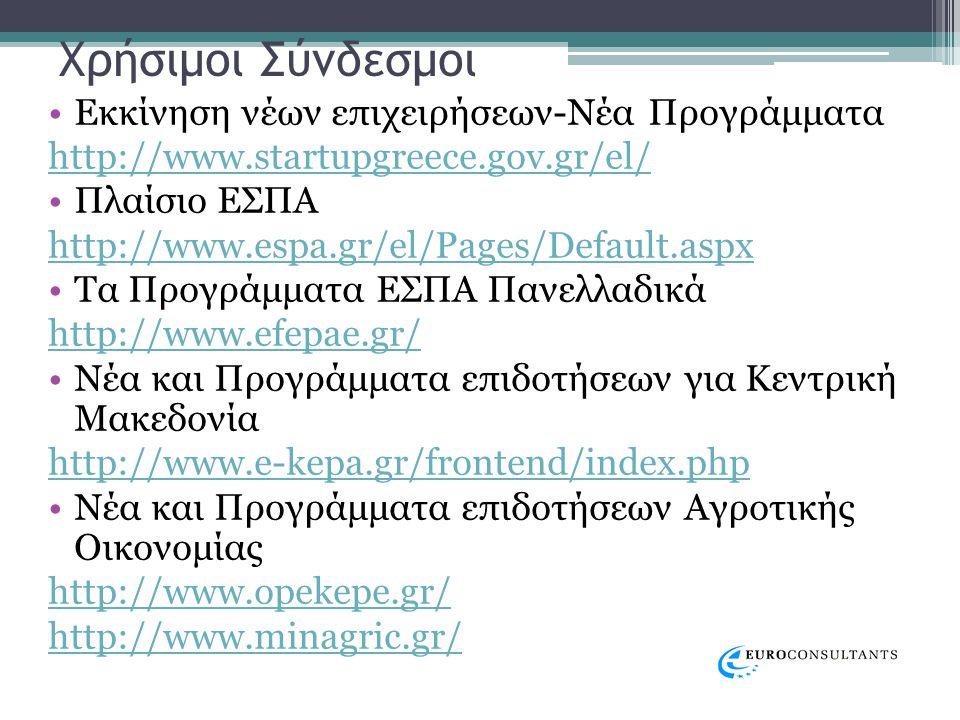 Χρήσιμοι Σύνδεσμοι •Εκκίνηση νέων επιχειρήσεων-Νέα Προγράμματα http://www.startupgreece.gov.gr/el/ •Πλαίσιο ΕΣΠΑ http://www.espa.gr/el/Pages/Default.aspx •Τα Προγράμματα ΕΣΠΑ Πανελλαδικά http://www.efepae.gr/ •Νέα και Προγράμματα επιδοτήσεων για Κεντρική Μακεδονία http://www.e-kepa.gr/frontend/index.php •Νέα και Προγράμματα επιδοτήσεων Αγροτικής Οικονομίας http://www.opekepe.gr/ http://www.minagric.gr/