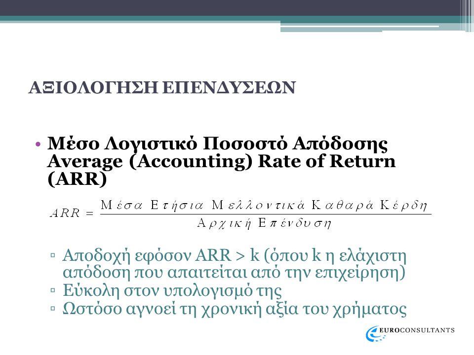 ΑΞΙΟΛΟΓΗΣΗ ΕΠΕΝΔΥΣΕΩΝ •Μέσο Λογιστικό Ποσοστό Απόδοσης Average (Accounting) Rate of Return (ARR) ▫Αποδοχή εφόσον ARR > k (όπου k η ελάχιστη απόδοση που απαιτείται από την επιχείρηση) ▫Εύκολη στον υπολογισμό της ▫Ωστόσο αγνοεί τη χρονική αξία του χρήματος