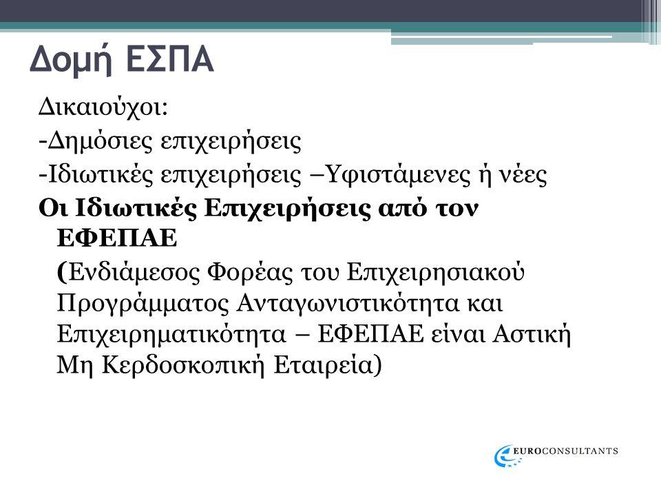 Ο ΕΦΕΠΑΕ για την Κεντρική Μακεδονία αντιπροσωπεύεται από το : •ΚΕΝΤΡΟ ΕΠΙΧΕΙΡΗΜΑΤΙΚΗΣ ΚΑΙ ΠΟΛΙΤΙΣΤΙΚΗΣ ΑΝΑΠΤΥΞΗΣ – ΑΝΑΠΤΥΞΙΑΚΗ ΕΝΩΣΗ ΜΑΚΕΔΟΝΙΑΣ (Κ.Ε.Π.Α.