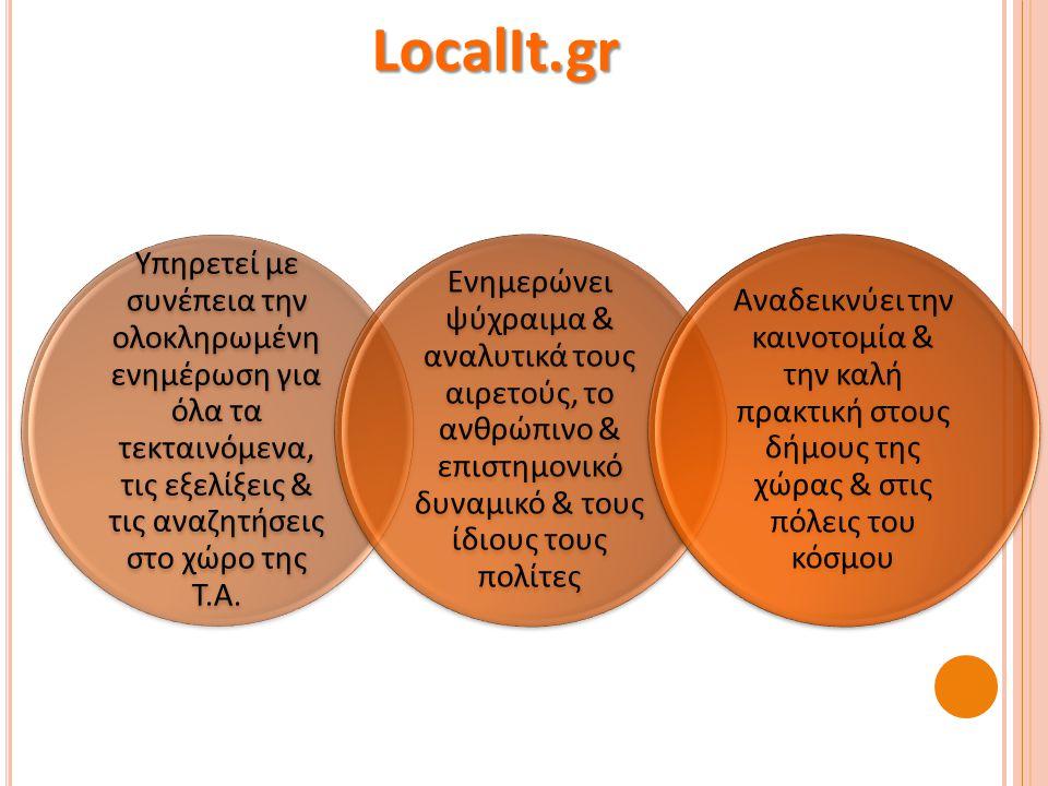 Η σελίδα που μπορείτε να καταθέτετε τις απόψεις και τις ιδέες σας με στόχο την ανάπτυξη του διαλόγου και την ενίσχυση της διαδικασίας διακίνησης ιδεών www.localit.gr