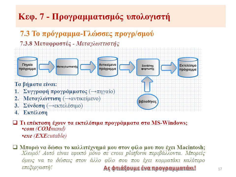 Κεφ. 7 - Προγραμματισμός υπολογιστή 7.3 Το πρόγραμμα-Γλώσσες προγρ/σμού 17 7.3.8 Μεταφραστές - Μεταγλωττιστής Τα βήματα είναι: 1.Συγγραφή προγράμματος