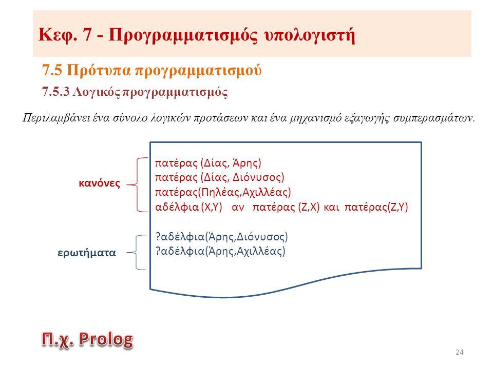 Κεφ. 7 - Προγραμματισμός υπολογιστή 7.5 Πρότυπα προγραμματισμού 24 Περιλαμβάνει ένα σύνολο λογικών προτάσεων και ένα μηχανισμό εξαγωγής συμπερασμάτων.