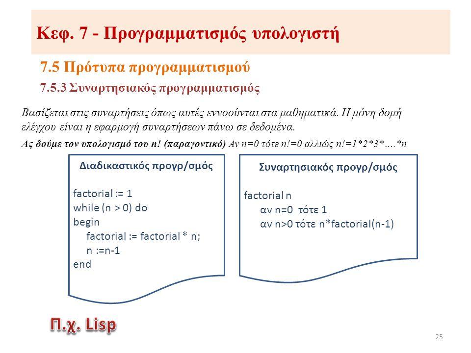 Κεφ. 7 - Προγραμματισμός υπολογιστή 7.5 Πρότυπα προγραμματισμού 25 Βασίζεται στις συναρτήσεις όπως αυτές εννοούνται στα μαθηματικά. Η μόνη δομή ελέγχο