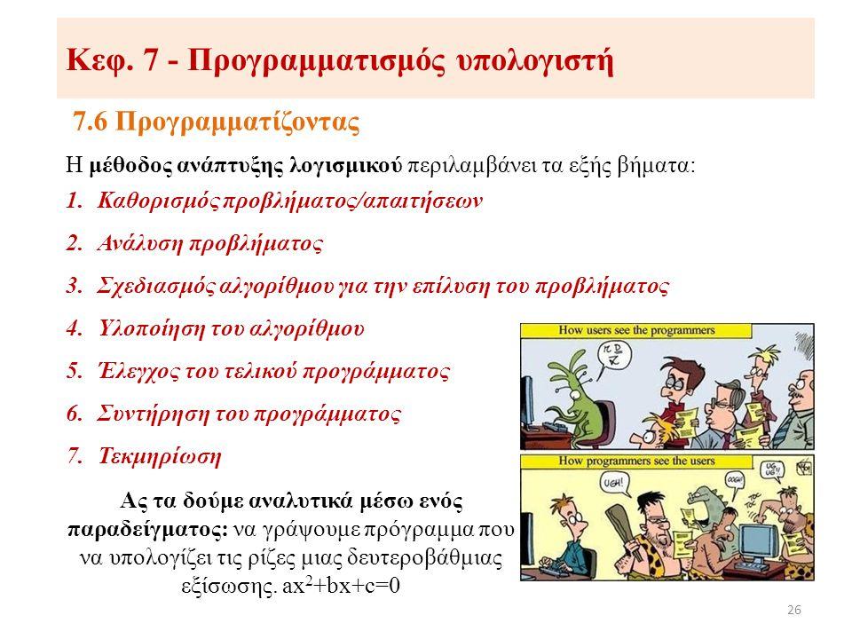 Κεφ. 7 - Προγραμματισμός υπολογιστή 7.6 Προγραμματίζοντας 26 Η μέθοδος ανάπτυξης λογισμικού περιλαμβάνει τα εξής βήματα: 1.Καθορισμός προβλήματος/απαι
