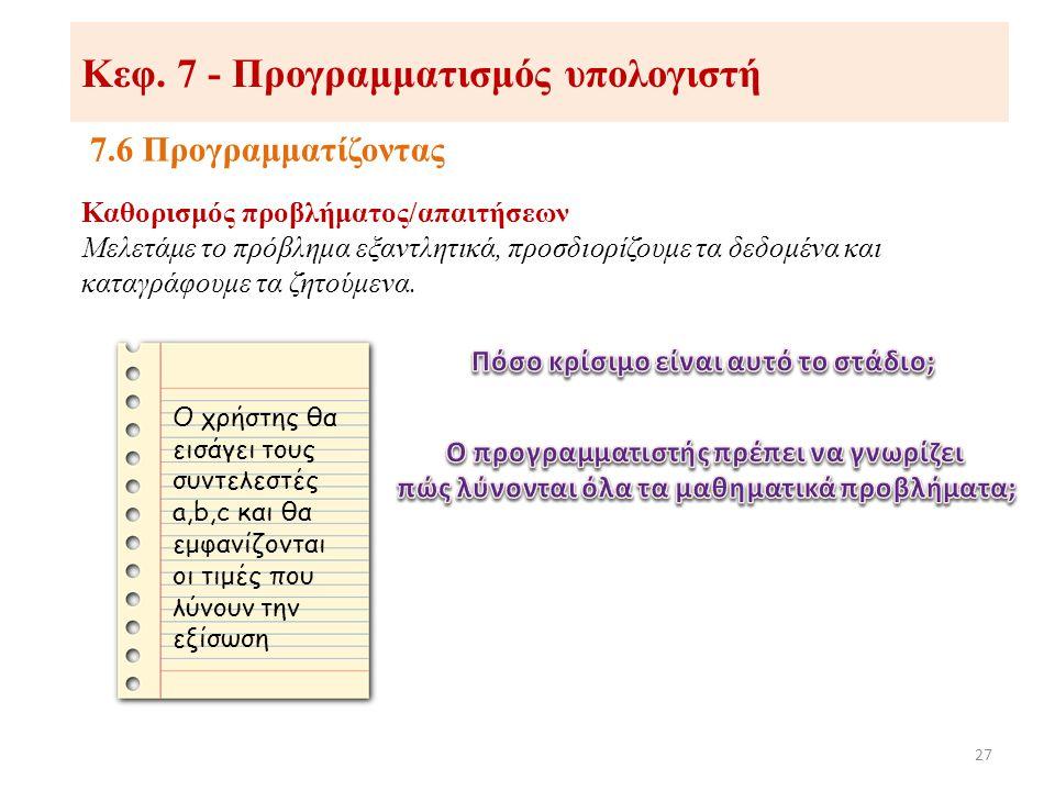 Κεφ. 7 - Προγραμματισμός υπολογιστή 7.6 Προγραμματίζοντας 27 Καθορισμός προβλήματος/απαιτήσεων Μελετάμε το πρόβλημα εξαντλητικά, προσδιορίζουμε τα δεδ