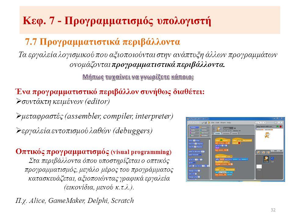 Κεφ. 7 - Προγραμματισμός υπολογιστή 7.7 Προγραμματιστικά περιβάλλοντα 32 Τα εργαλεία λογισμικού που αξιοποιούνται στην ανάπτυξη άλλων προγραμμάτων ονο