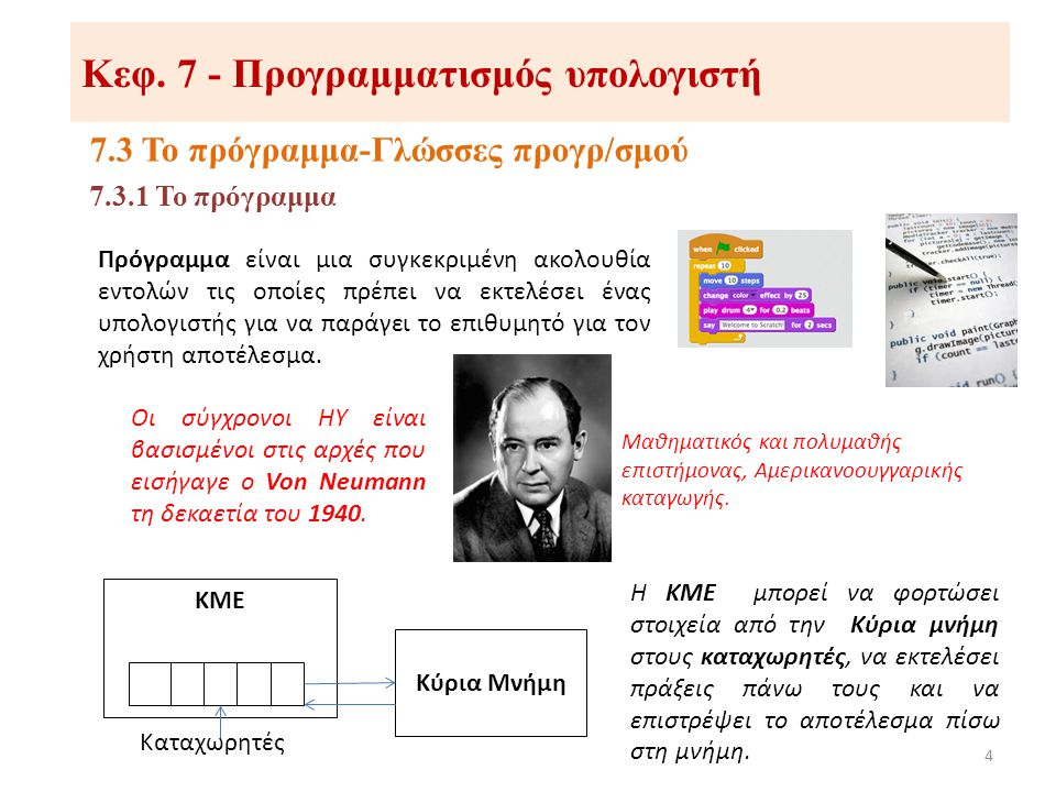 Κεφ. 7 - Προγραμματισμός υπολογιστή 7.3 Το πρόγραμμα-Γλώσσες προγρ/σμού 4 7.3.1 Το πρόγραμμα Πρόγραμμα είναι μια συγκεκριμένη ακολουθία εντολών τις οπ