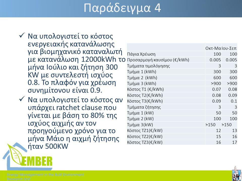 Παράδειγμα 4 Οκτ-ΜαΙου-Σεπ Πάγια Χρέωση100 Προσαρμογή καυσίμου (€/kWh)0.005 Τμήματα τιμολόγησης33 Τμήμα 1 (kWh)300 Τμήμα 2 (kWh)600 Τμήμα 3 (kWh)>900