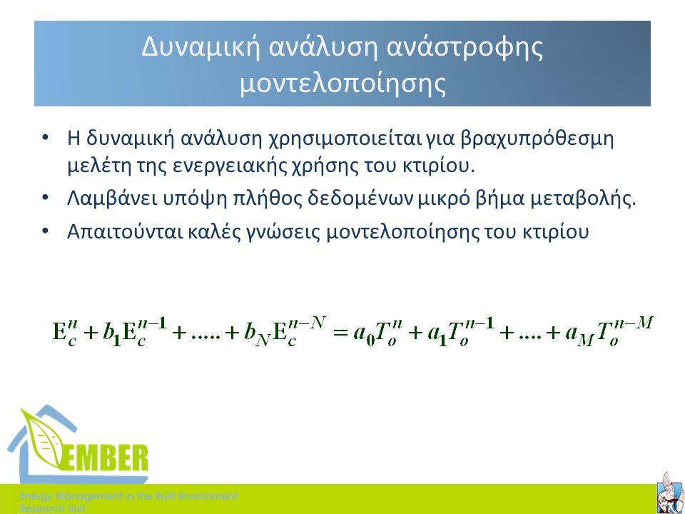 Δυναμική ανάλυση ανάστροφης μοντελοποίησης • Η δυναμική ανάλυση χρησιμοποιείται για βραχυπρόθεσμη μελέτη της ενεργειακής χρήσης του κτιρίου. • Λαμβάνε