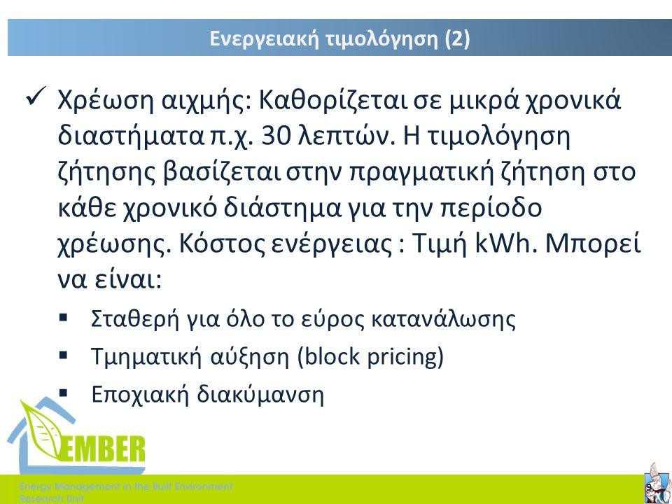 Ενεργειακή τιμολόγηση (2)  Χρέωση αιχμής: Καθορίζεται σε μικρά χρονικά διαστήματα π.χ. 30 λεπτών. Η τιμολόγηση ζήτησης βασίζεται στην πραγματική ζήτη