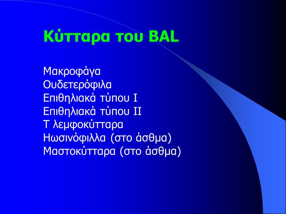 Κύτταρα του ΒΑL Mακροφάγα Ουδετερόφιλα Επιθηλιακά τύπου Ι Επιθηλιακά τύπου ΙΙ Τ λεμφοκύτταρα Ηωσινόφιλλα (στο άσθμα) Μαστοκύτταρα (στο άσθμα)