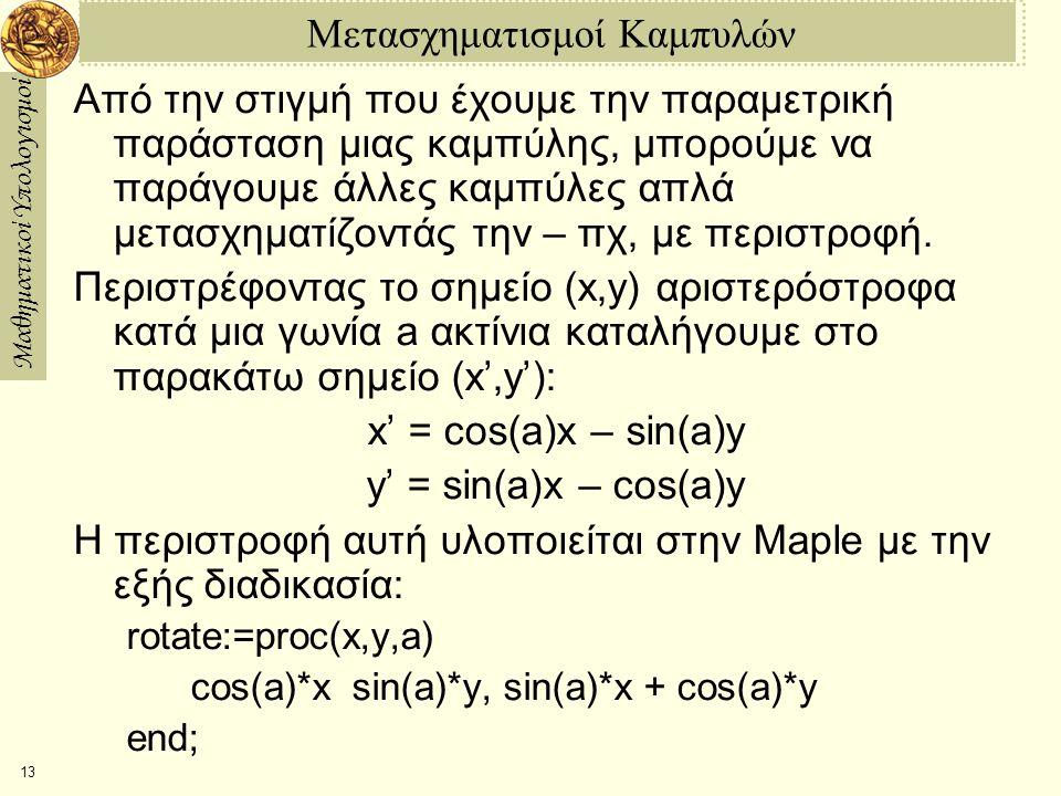 Μαθηματικοί Υπολογισμοί 13 Μετασχηματισμοί Καμπυλών Από την στιγμή που έχουμε την παραμετρική παράσταση μιας καμπύλης, μπορούμε να παράγουμε άλλες καμπύλες απλά μετασχηματίζοντάς την – πχ, με περιστροφή.