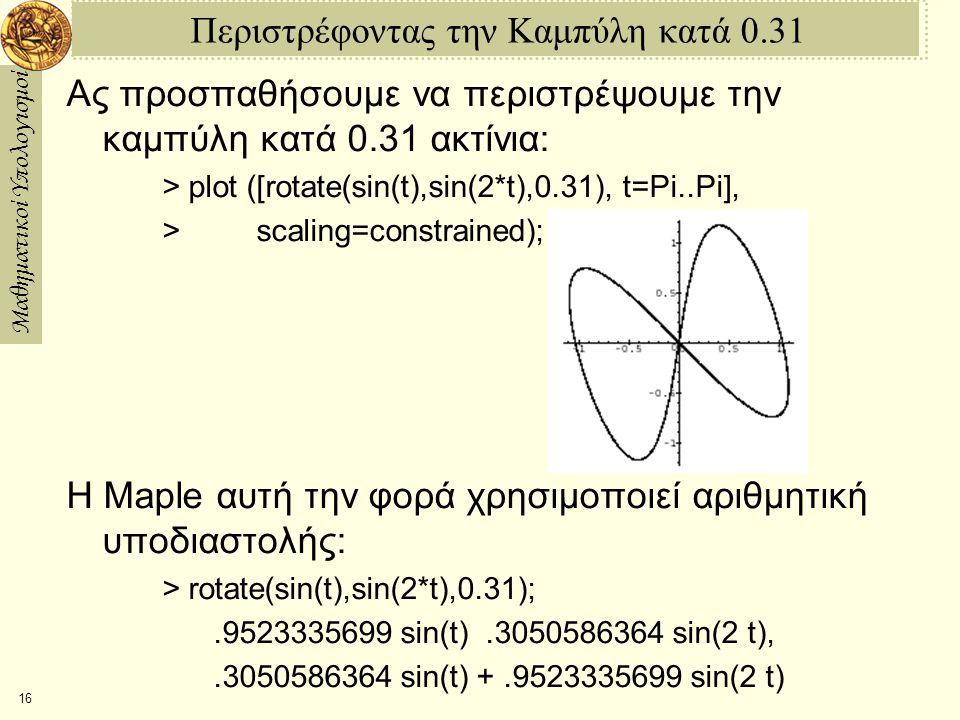 Μαθηματικοί Υπολογισμοί 16 Περιστρέφοντας την Καμπύλη κατά 0.31 Ας προσπαθήσουμε να περιστρέψουμε την καμπύλη κατά 0.31 ακτίνια: > plot ([rotate(sin(t),sin(2*t),0.31), t=Pi..Pi], > scaling=constrained); Η Maple αυτή την φορά χρησιμοποιεί αριθμητική υποδιαστολής: > rotate(sin(t),sin(2*t),0.31);.9523335699 sin(t) .3050586364 sin(2 t),.3050586364 sin(t) +.9523335699 sin(2 t)