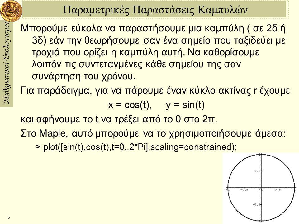 Μαθηματικοί Υπολογισμοί 6 Παραμετρικές Παραστάσεις Καμπυλών Μπορούμε εύκολα να παραστήσουμε μια καμπύλη ( σε 2δ ή 3δ) εάν την θεωρήσουμε σαν ένα σημείο που ταξιδεύει με τροχιά που ορίζει η καμπύλη αυτή.