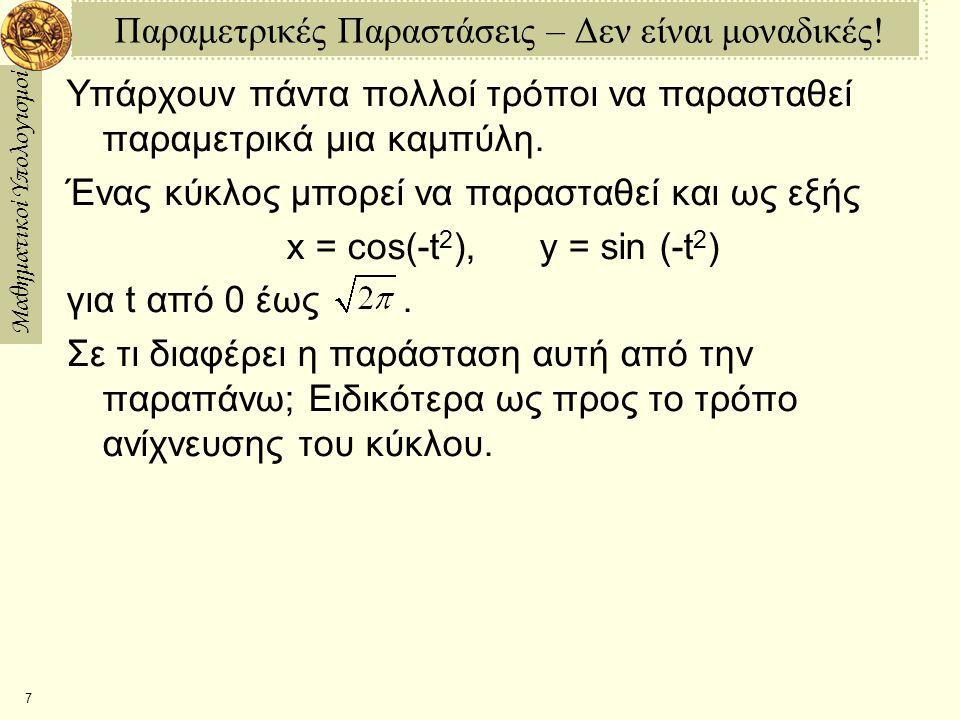 Μαθηματικοί Υπολογισμοί 7 Παραμετρικές Παραστάσεις – Δεν είναι μοναδικές! Υπάρχουν πάντα πολλοί τρόποι να παρασταθεί παραμετρικά μια καμπύλη. Ένας κύκ