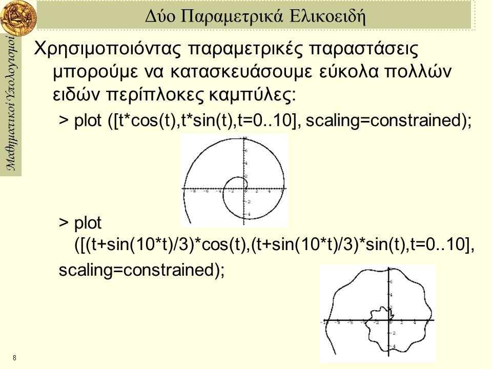 Μαθηματικοί Υπολογισμοί 8 Δύο Παραμετρικά Ελικοειδή Χρησιμοποιόντας παραμετρικές παραστάσεις μπορούμε να κατασκευάσουμε εύκολα πολλών ειδών περίπλοκες καμπύλες: > plot ([t*cos(t),t*sin(t),t=0..10], scaling=constrained); > plot ([(t+sin(10*t)/3)*cos(t),(t+sin(10*t)/3)*sin(t),t=0..10], scaling=constrained);