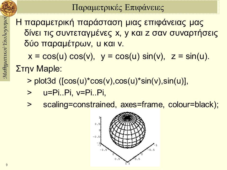 Μαθηματικοί Υπολογισμοί 9 Παραμετρικές Επιφάνειες Η παραμετρική παράσταση μιας επιφάνειας μας δίνει τις συντεταγμένες x, y και z σαν συναρτήσεις δύο παραμέτρων, u και v.