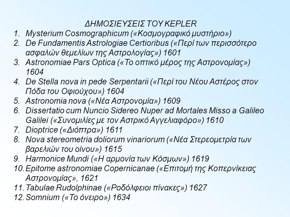 ΔΗΜΟΣΙΕΥΣΕΙΣ ΤΟΥ KEPLER 1.Mysterium Cosmographicum («Κοσμογραφικό μυστήριο») 2.De Fundamentis Astrologiae Certioribus («Περί των περισσότερο ασφαλών θεμελίων της Αστρολογίας») 1601 3.Astronomiae Pars Optica («Το οπτικό μέρος της Αστρονομίας») 1604 4.De Stella nova in pede Serpentarii («Περί του Νέου Αστέρος στον Πόδα του Οφιούχου») 1604 5.Astronomia nova («Νέα Αστρονομία») 1609 6.Dissertatio cum Nuncio Sidereo Nuper ad Mortales Misso a Galileo Galilei («Συνομιλίες με τον Αστρικό Αγγελιαφόρο») 1610 7.Dioptrice («Διόπτρα») 1611 8.Nova stereometria doliorum vinariorum («Νέα Στερεομετρία των βαρελιών του οίνου») 1615 9.Harmonice Mundi («Η αρμονία των Κόσμων») 1619 10.Epitome astronomiae Copernicanae («Επιτομή της Κοπερνίκειας Αστρονομίας», 1621 11.Tabulae Rudolphinae («Ροδόλφειοι πίνακες») 1627 12.Somnium («Το όνειρο») 1634