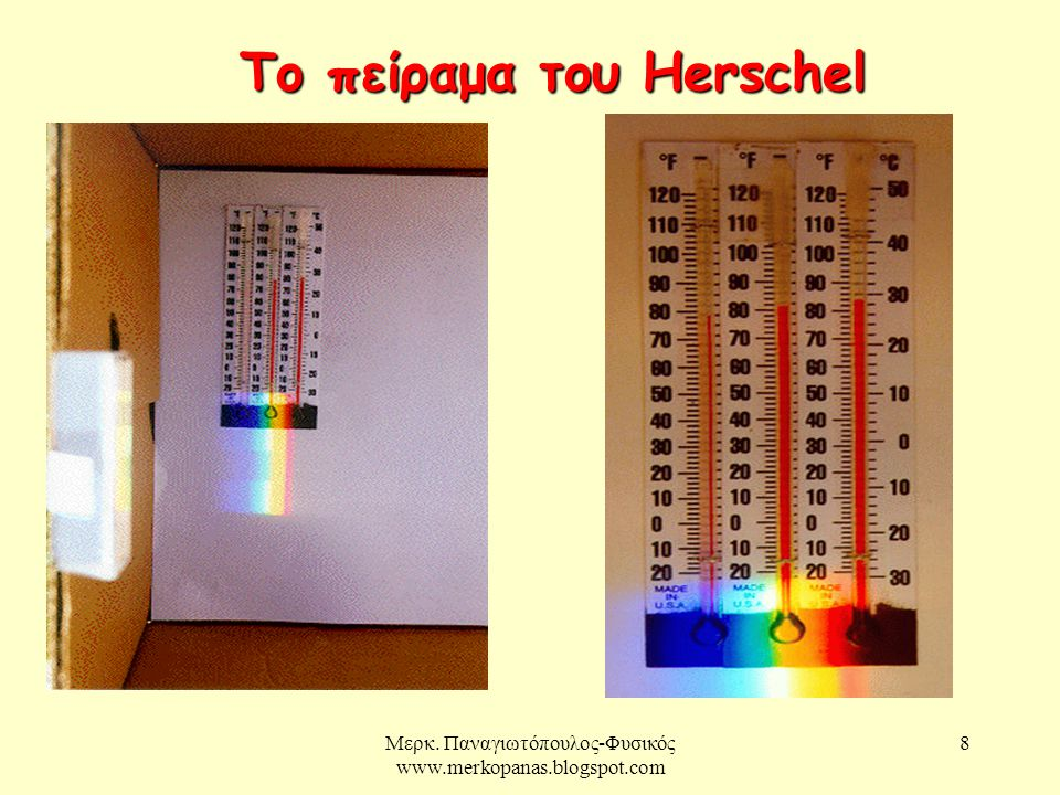 Μερκ. Παναγιωτόπουλος-Φυσικός www.merkopanas.blogspot.com 8 Το πείραμα του Herschel
