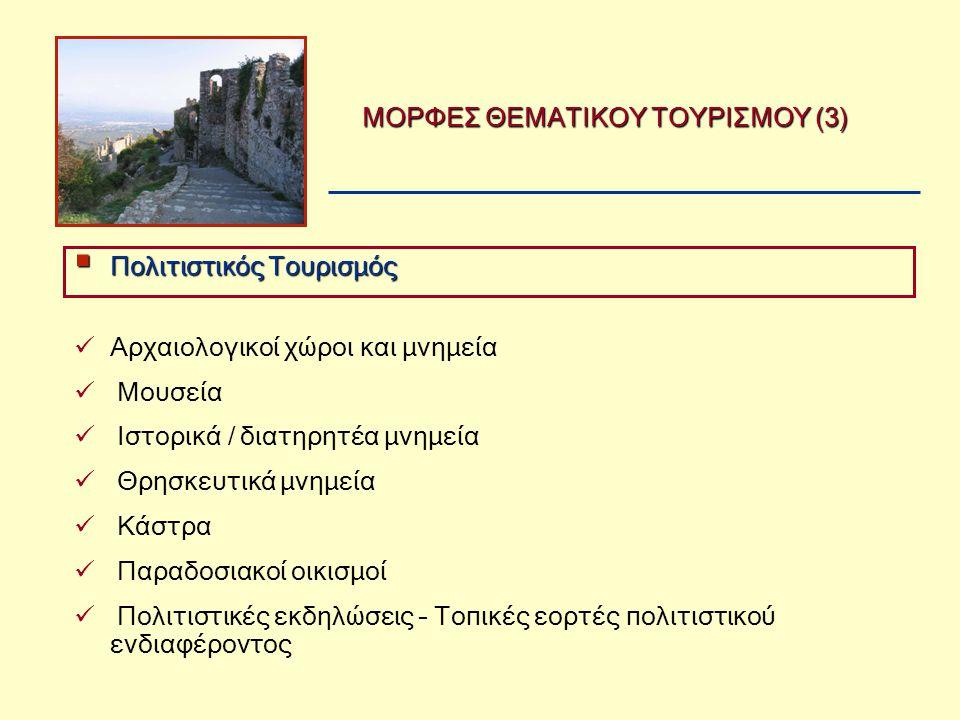 ΜΟΡΦΕΣ ΘΕΜΑΤΙΚΟΥ ΤΟΥΡΙΣΜΟΥ (3)  Αρχαιολογικοί χώροι και μνημεία  Μουσεία  Ιστορικά / διατηρητέα μνημεία  Θρησκευτικά μνημεία  Κάστρα  Παραδοσιακοί οικισμοί  Πολιτιστικές εκδηλώσεις – Τοπικές εορτές πολιτιστικού ενδιαφέροντος  Πολιτιστικός Τουρισμός