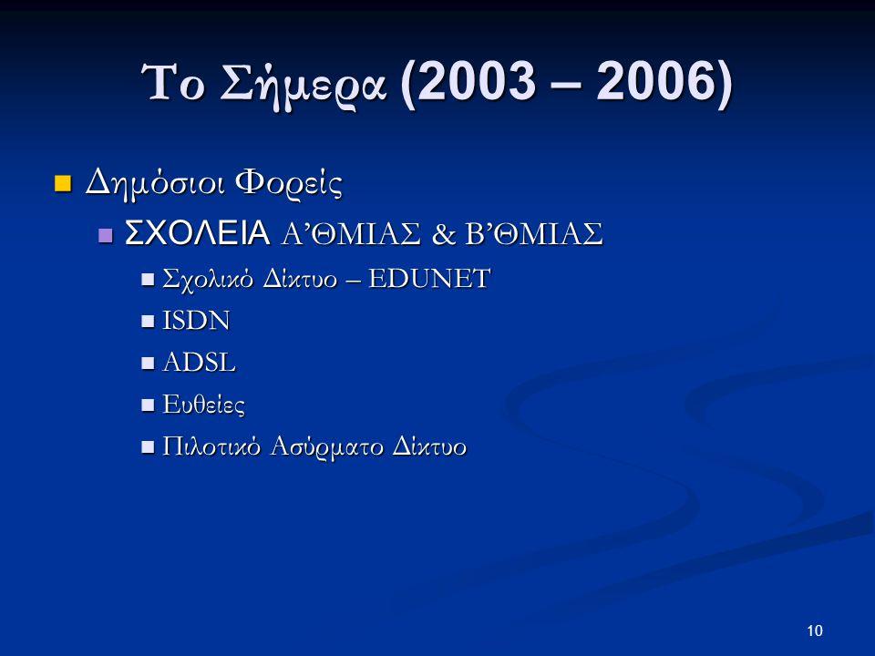 10 Το Σήμερα (2003 – 2006)  Δημόσιοι Φορείς  ΣΧΟΛΕΙΑ Α'ΘΜΙΑΣ & Β'ΘΜΙΑΣ  Σχολικό Δίκτυο – EDUNET  ISDN  ADSL  Ευθείες  Πιλοτικό Ασύρματο Δίκτυο
