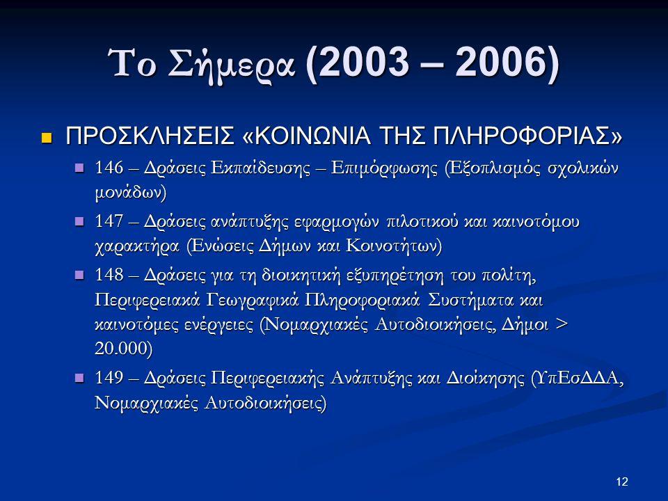 12 Το Σήμερα (2003 – 2006)  ΠΡΟΣΚΛΗΣΕΙΣ «ΚΟΙΝΩΝΙΑ ΤΗΣ ΠΛΗΡΟΦΟΡΙΑΣ»  146 – Δράσεις Εκπαίδευσης – Επιμόρφωσης (Εξοπλισμός σχολικών μονάδων)  147 – Δράσεις ανάπτυξης εφαρμογών πιλοτικού και καινοτόμου χαρακτήρα (Ενώσεις Δήμων και Κοινοτήτων)  148 – Δράσεις για τη διοικητική εξυπηρέτηση του πολίτη, Περιφερειακά Γεωγραφικά Πληροφοριακά Συστήματα και καινοτόμες ενέργειες (Νομαρχιακές Αυτοδιοικήσεις, Δήμοι > 20.000)  149 – Δράσεις Περιφερειακής Ανάπτυξης και Διοίκησης (ΥπΕσΔΔΑ, Νομαρχιακές Αυτοδιοικήσεις)