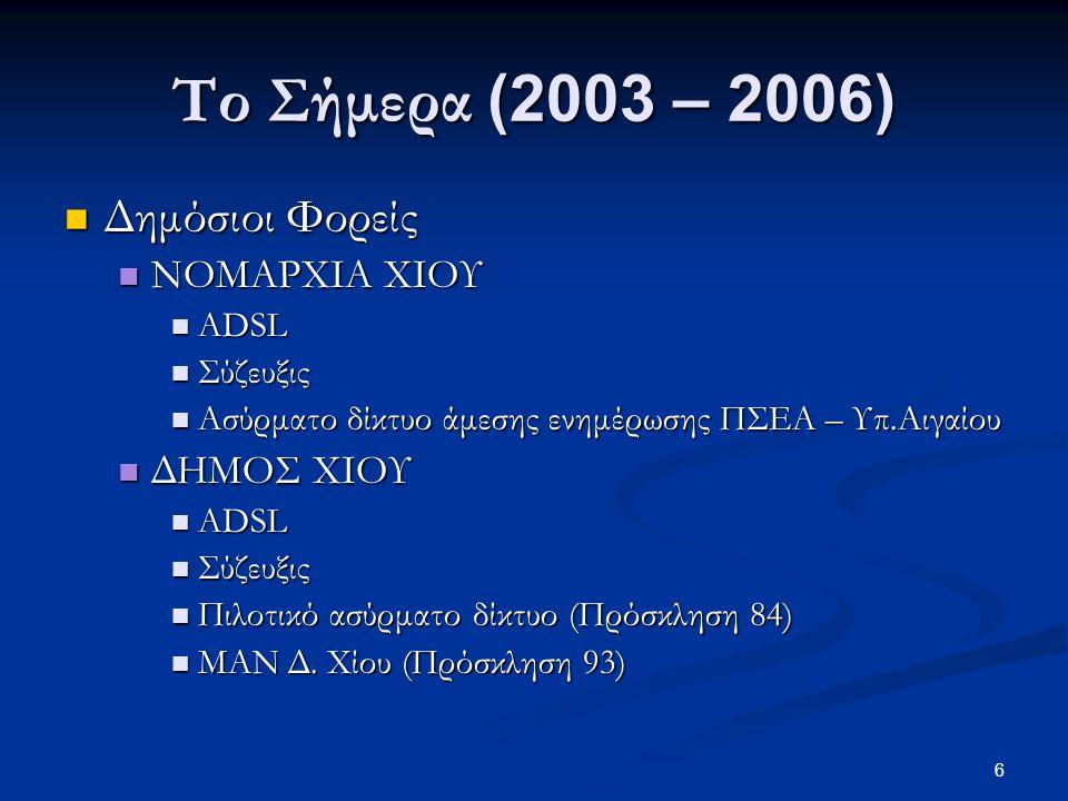 6 Το Σήμερα (2003 – 2006)  Δημόσιοι Φορείς  ΝΟΜΑΡΧΙΑ ΧΙΟΥ  ADSL  Σύζευξις  Ασύρματο δίκτυο άμεσης ενημέρωσης ΠΣΕΑ – Υπ.Αιγαίου  ΔΗΜΟΣ ΧΙΟΥ  ADSL  Σύζευξις  Πιλοτικό ασύρματο δίκτυο (Πρόσκληση 84)  MAN Δ.