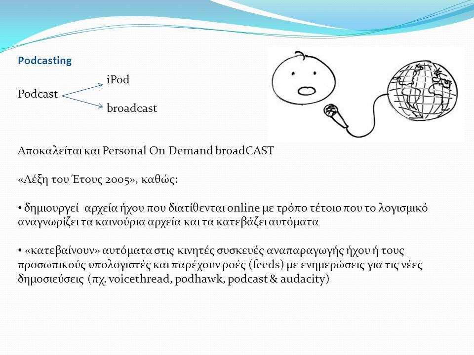 Podcasting iPod Podcast broadcast Αποκαλείται και Personal On Demand broadCAST «Λέξη του Έτους 2005», καθώς: • δημιουργεί αρχεία ήχου που διατίθενται